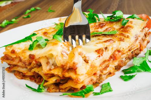 Delicious lasagna with bolognese sauce © tonovavania