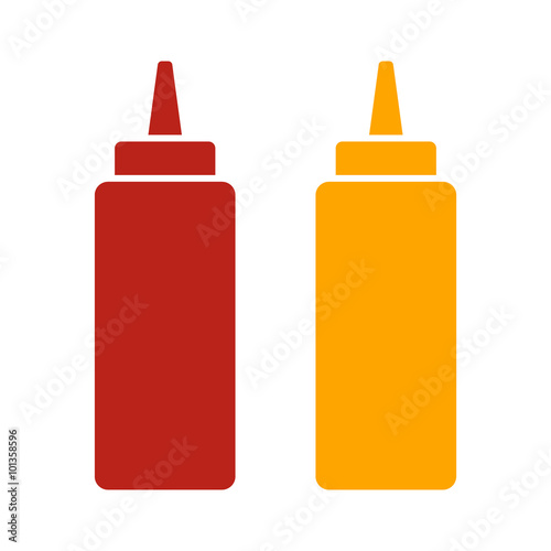 Stampa su Tela Ketchup and mustard squeeze bottle flat color icon for food apps and websites