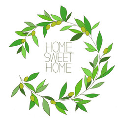Plakat Home sweet home, hand drawn inspirational floral color graphic