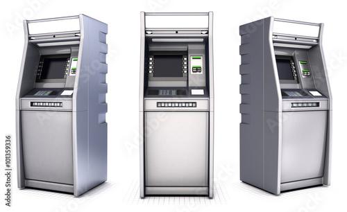 Fotografia, Obraz ATM Bank Cash Machine. Set. Isolated on white
