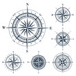 Set of compass roses isolated on white