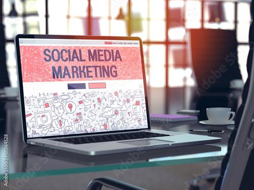 Fotografie, Obraz  Laptop Screen with Social Media Marketing Concept.