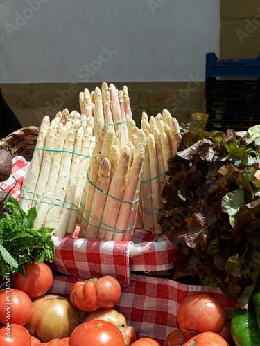 White asparagus in a market.