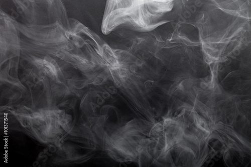 Fotobehang Rook Smoke on a black background. Defocused