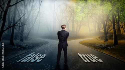 Fotografie, Obraz  Geschäftsmann hat die Wahl zwischen false und true