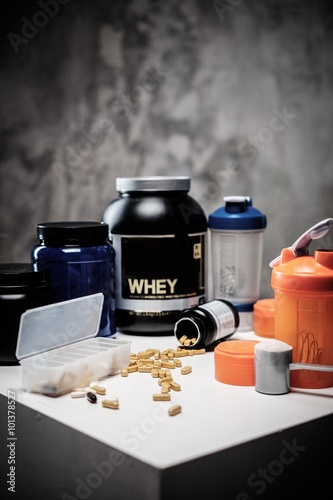 Bodybuilding nutrition supplements and chemistry Canvas Print