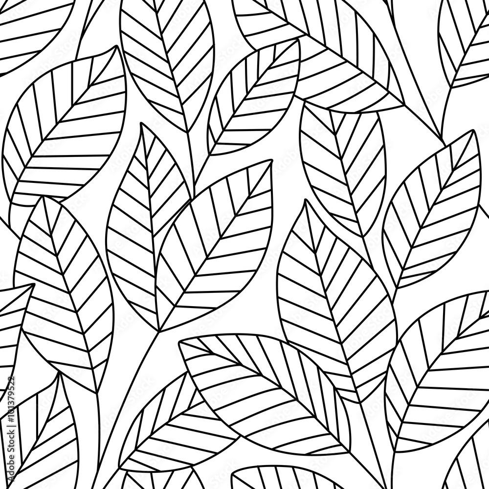 Bezszwowy wzór z liśćmi
