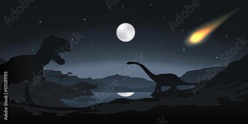 Fotografie, Obraz  Disparition des Dinosaures