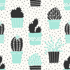 Tapeta Hand Drawn Cactus Pattern