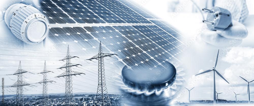 Fototapeta Energieversorgung mit Strom und Gas