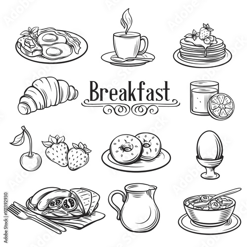 Stampa su Tela Hand drawn decorative icons breakfast .