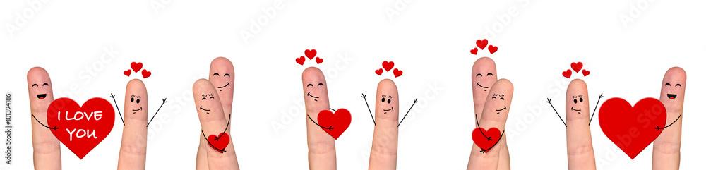 Fototapeta Happy finger couple in love celebrating Valentine day