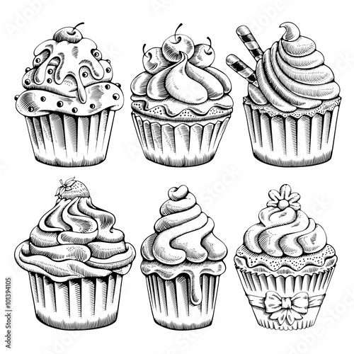 Set of sweet bakery decorated cupcakes hand drawn in vintage engraved style Poster