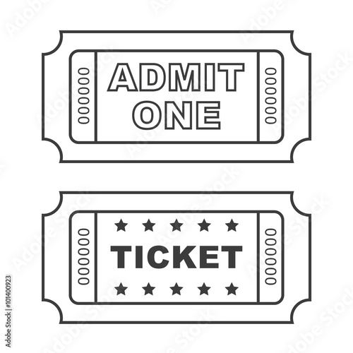 Outline vintage cinema tickets. Canvas Print