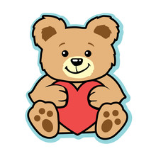Valentine Teddy Bear With Red Heart