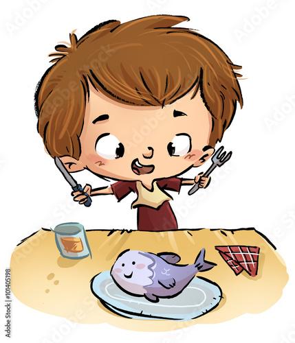 Niño Comiendo Pescado Buy This Stock Illustration And Explore