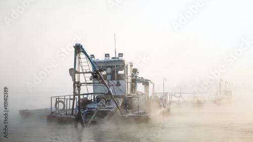 dredge boat in the fog Wallpaper Mural