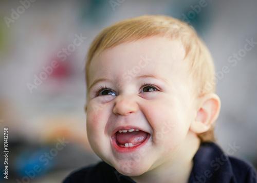 Fotografie, Obraz  blonde baby portait - laughing baby