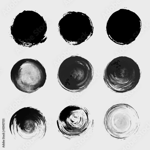 Photo Grunge paint circle vector element set. Brush smear stain textur