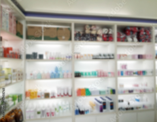 Poster Pharmacie blurry medicine cabinet and store medicine and pharmacy drugstor