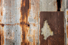 Old Rusty Zinc Plat Wall.