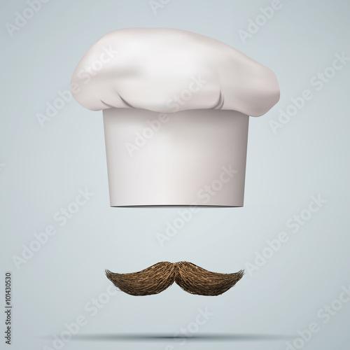 Photo  Symbol of chef cap toque and mustache.