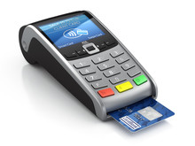 POS Terminal With Credit Card Isolated On A White Background