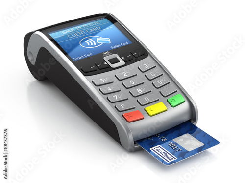 Fotografering POS Terminal with credit card isolated on a white background