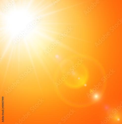 Fototapeta Summer natural  background with sun and lens flare.  obraz na płótnie