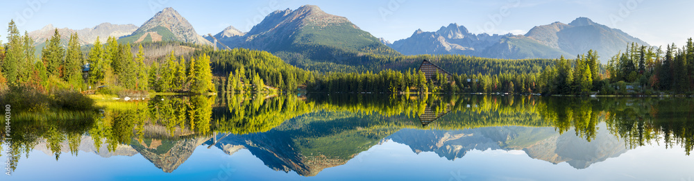 Fototapety, obrazy: High resolution panorama of the lake in Strbske Pleso,High Tatras,Slovakia