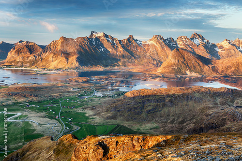 Foto op Canvas Bleke violet Norway Landscape panorama with ocean and mountain - Lofoten