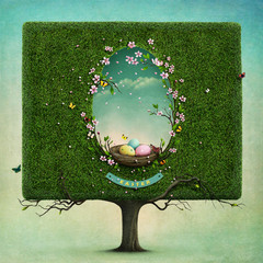Greeting card or illustration of Easter with  square tree  and nest in hole in shape of an egg