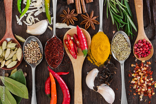 Printed kitchen splashbacks Spices Different fragrant spices in spoons
