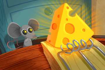 Plakat Creative Illustration and Innovative Art: Eat or not? Little Mouse thinks before Cheese on Mouse Trap. Realistic Fantastic Cartoon Style Artwork Scene, Wallpaper, Story Background, Card Design