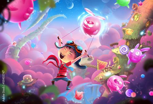 Kreatywna ilustracja i innowacyjna sztuka: Fantastyczny szczęśliwy świat Naughty Kid i WonderLand! Realistyczne fantastyczne grafiki w stylu kreskówek sceny, tapety, tło historia, projekt karty