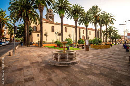 Square with fountain near the church in La Laguna