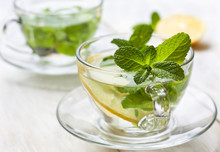Cups Of Tea With Fresh Mint And Lemon
