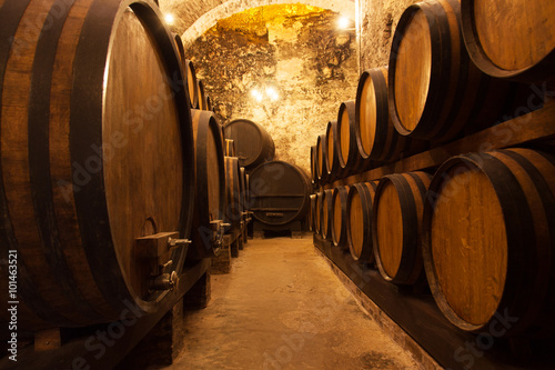 Photo  Cellar With Barrels For Storage Of Wine
