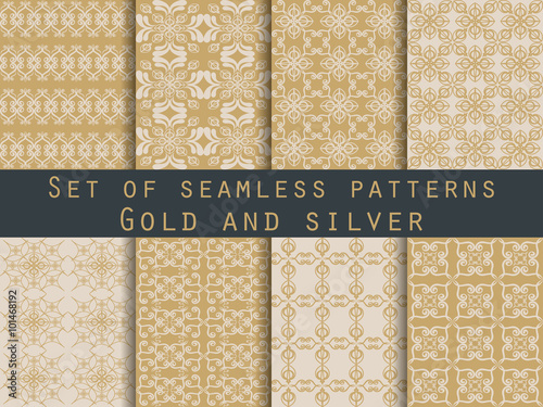 Poster Artificiel Set of seamless patterns. Geometric patterns. The pattern for wallpaper, tiles, fabrics and designs. Gold and silver color.