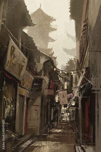 chinatown-aleja-z-tradycyjni-chinskie-budynkami-ilustracyjny-obraz
