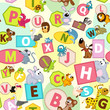 seamless pattern with geometric shapes and animals alphabet - vector illustration, eps
