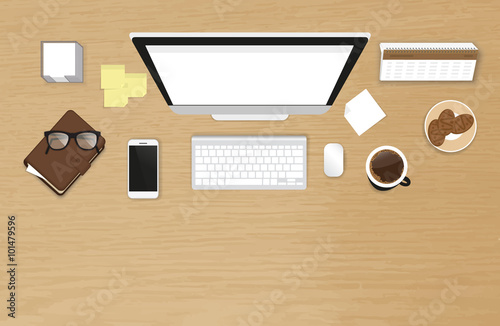 Realistic work desk organization with white screen blank