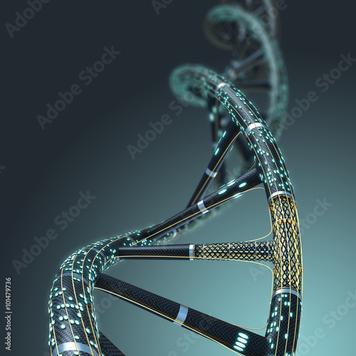 Fotografie, Obraz  Artificial DNA molecule, the concept of artificial intelligence,