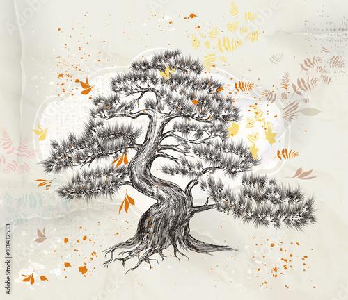 recznie-rysowane-drzewa-wektor-na-stary-ilustracji-wektorowych-papieru