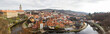 CESKY KRUMLOV, CZECH REPUBLIC Panoramic old town and castle view surrounded by Vltava River