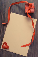 Vintage Photo, Gift With Ribbon And Love Letter For Valentines Day, Copy Space For Text