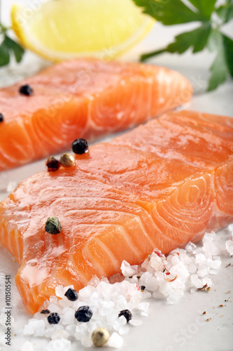 Canvas Prints Fish Fresh raw salmon fillet and aromatic spices for baking