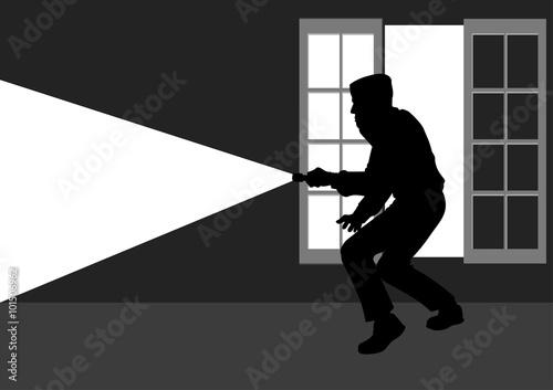Fotografía  Silhouette illustration of a thief break into the house through window