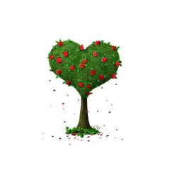 Isolated from background tree Heart with roses