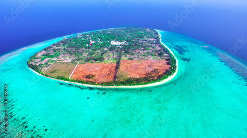 In de dag Groene koraal Beautiful tropical island from above. Maldives, whole island Tho
